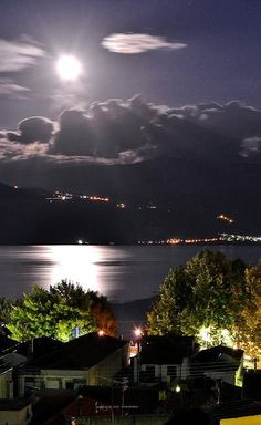 night by moonlight.. Ioannina Epirus Greece (by Michael Vakaros).... #Relax more with healing sounds: