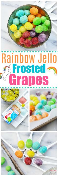 Rainbow frosted grapes are fun rainbow food that are also a gluten free treat! Rainbow frosted grapes are fun rainbow food that are also a gluten free treat! Rainbow Jello, Rainbow Frosting, Rainbow Food, Grape Recipes, Snack Recipes, Kid Recipes, Popsicle Recipes, Camping Recipes, Delicious Recipes