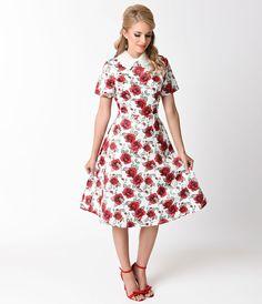 Vintage_Style_White_Red_Rose_Short_Sleeve_Swing_Dress_5.jpg (1095×1275)