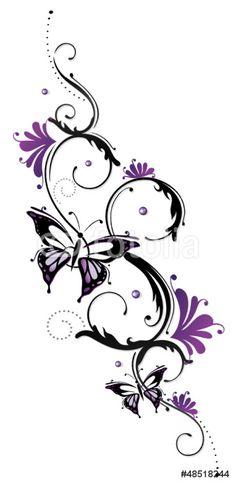 Papier Peint Vinyle Ranke, flora, fleur, fleurs, papillon, pourpre, violet - Sticker mural