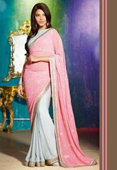 Baby Pink and Light Grey Faux Georgette Saree with Blouse