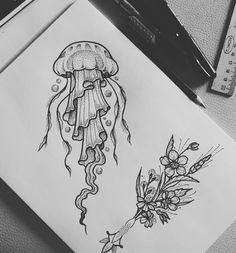 tattoo designs ideas männer männer ideen old school quotes sketches Jellyfish Drawing, Jellyfish Tattoo, Jellyfish Art, Jellyfish Decorations, Craft Decorations, Pencil Art Drawings, Animal Drawings, Cool Drawings, Tattoo Sketches