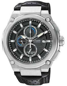 Citizen Eco-Drive Mens 200M WR Chrono - Black Dial - Leather Strap - Stainless