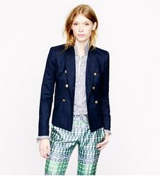 Double Breasted #JCrew Blazer. A graduation gift that is functional and fashionable. Get them something they NEED for the upcoming job hunt! See it and more picks on: http://blog.gifts.com/gift-guides/gifts-for-recent-grads-entering-the-workforce