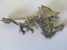 ANTIQUE CHINESE OLD MIAO SILVER DRAGON DESIGNED BROOCH PIN