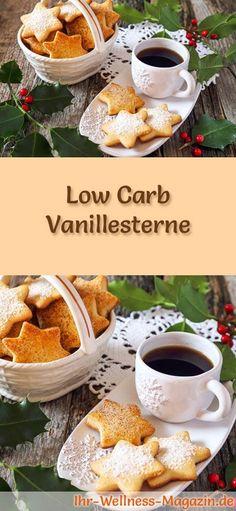 Low-Carb-Weihnachtsgebäck-Rezept für Vanillesterne: Kohlenhydratarme, kalorienreduzierte Weihnachtskekse - ohne Getreidemehl und Zucker gebacken ... #lowcarb #backen #weihnachten