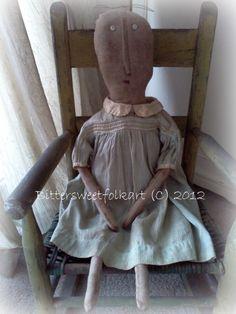 Rag doll ..vintage dress..sold     The works of:Bittersweet Folkart .