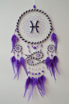 Zodiac Dream Catcher Pisces Sign Dreamcatcher Large Wall Hanging Purple Violet Fish Water Element Room Decor - Famous Last Words Dream Catcher Decor, Large Dream Catcher, Dream Catcher Tattoo, Dream Catcher Boho, Purple Dream Catcher, Dream Catcher Patterns, Indian Arts And Crafts, Diy Arts And Crafts, Diy Dream Catcher Tutorial