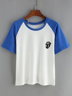 Camiseta+cuello+redondo+manga+suelta+contraste+8.65