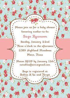 PRINTABLE Vintage Shabby Chic Cottage Baby or Bridal Shower invitation