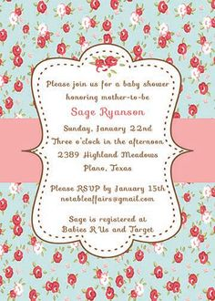 PRINTABLE Vintage Shabby Chic Cottage Baby or Bridal Shower invitation