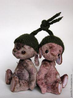 """Зайчишки-братишки """"Вишенки из компота"""" - бледно-розовый,зайка тедди,заяц друзья тедди"""