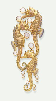 AN UNUSUAL ART NOUVEAU OPAL AND ENAMEL BROOCH, BY RENE LALIQUE   Comprising three sculpted opalescent enamelled sea horses, enhanced by effervescing cabochon opal bubbles, mounted in gold, circa 1900  Signed Lalique for René Lalique