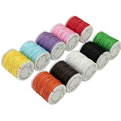 10 Rolls Mixed Colors 15mm Waxed Cotton Cord Strings For Macrame chain bracelet Jewelry Beads DIY Making beading thread * You can find more details by visiting the image link.