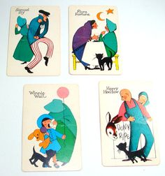 Vintage Old Maid Cards Game Cards Set of 4 by AntiquesGaloreGal