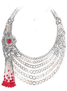High jewellery TUDOR ROSE RUBY AND PEARL NECKLACE rough sketch by Sarah Prentice High Jewelry, Pearl Jewelry, Jewelry Art, Jewelery, Pearl Necklace, Diamond Necklace Set, Diamond Jewelry, Ring Sketch, Jewelry Design Drawing