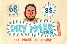68 Dry Markers Photoshop Brushes by Guerillacraft on Creative Market