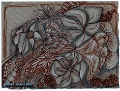 Fantasy Floral on Gray by Sharla R. Hicks, Certified Zentangle Teacher CZT | Flickr - Photo Sharing! Part of Sharla Hicks' on going exploration of alternate colored backgrounds using Brown Micron Pigma Pen, White Pastel Pencil and graphite.