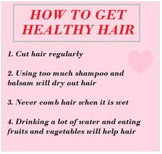 Healthy hair tips! hmmm this is very interesting.