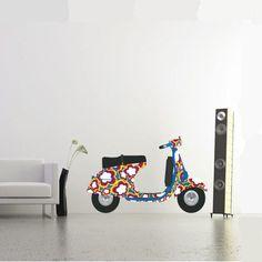 Sticker mural scooter Hippie