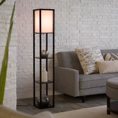 Adesso Lighting 3138 01 Wright Etagere Floor Lamp   For Extra Display  Space, Storage