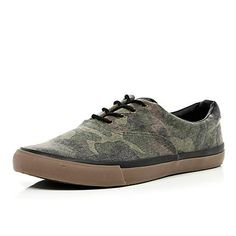 Green camouflage print trainers