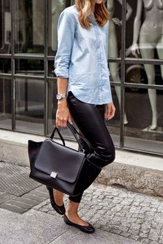 Top 5 Street Fashion #leather #pants #chambray #denim #flats