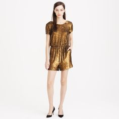 hello, Christmas & New Year parties | Collection gold sequin romper | J.Crew