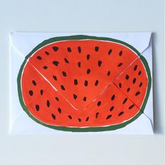 Painted envelopes by Lucy Halcomb | Brooklyn Living Zine, Watermelon Patch, Crafts For Kids, Arts And Crafts, Calligraphy Cards, Party Props, Stationery Paper, Happy Mail, Mail Art