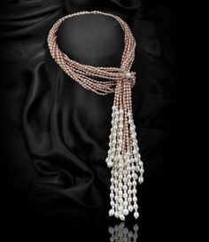 PEACH MULTI-STRAND SCARF FRESHWATER PEARL NECKLACE…