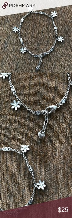 "Dainty flower Brighton Charm Bracelet Brighton flower charm bracelet.  Very dainty and elegant with small flowers. Adjustable bracelet  measures around 9"" at its fullest. Brighton Jewelry Bracelets"