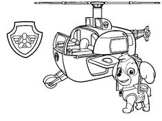 Skye, her helicopter and badge