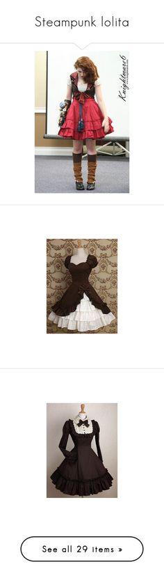 """""""Steampunk lolita"""" by anxo ❤ liked on Polyvore featuring steampunk, dresses, floral dresses, floral-print dresses, floral mini dress, botanical dress, flower pattern dress, lolita, jackets and pin dress"""