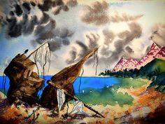 Beach Crash  #beach #wreck #ship #shipwreck #welcometonature #candyland #rainbowart #stranded #watercolor #watercolors #artwork Rainbow Art, Shipwreck, Candyland, Watercolors, Beach, Artwork, Painting, Inspiration, Instagram