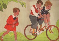 """""""Promenade à vélo"""". Lithographie en couleurs signée en bas à gauche, P., Fernand Nathan, (1935),"""
