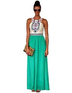Moxeay Women Summer Bohemian Floral Print Full Length Maxi Dress XLarge ** See this great product.