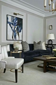 House Interior Design Ideas - Motivational Interior Decoration Ideas for Living Space Style, Bed Room Design, Cooking Area Style and also the whole home. Classic Living Room, Living Room Grey, Formal Living Rooms, Living Room Interior, Home And Living, Living Spaces, Cozy Living, Modern Living, Small Living