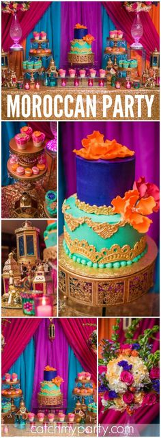 What an elaborate Moroccan party done in gorgeous jewel tones! See more party ideas at CatchMyParty.com!