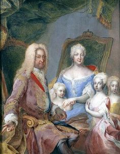 Holy Roman Emperor Charles VI with his wife Empress Elisabeth Christine and their three daughters, Archduchesses (L-R) Maria Amalia, Maria Theresia and Maria Anna by Martin van Meytens.