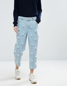 ASOS WHITE Pearl Embellished Jeans