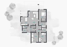 Projekt moderného rodinného domu - tible | aphaus.sk My House Plans, Bungalow House Plans, House 2, House Party, Architect Design House, House Plans South Africa, Small House Design, Home Design Plans, Bungalows