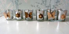 Set 6 Butterfly Silver Tea Light Holders Mirror by dollyanddotty