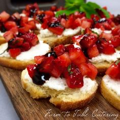 crostini with strawberries + ricotta + balsamic reduction  #appetizers #farmtotablecatering | Farm to Table Catering | www.farm2tablecatering.com
