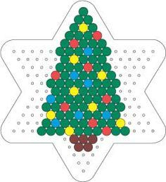Christmas tree perler hama bead pattern on star board Christmas Perler Beads, Beaded Christmas Ornaments, Christmas Crafts, Christmas Tree, Christmas Patterns, Pearler Bead Patterns, Perler Patterns, Quilt Patterns, Mosaic Patterns