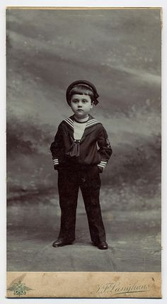 Little boy in sailor suit. Photographic studio J. F. Langhans in Prague. Circa 1900.