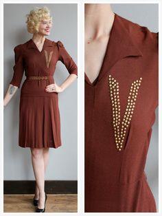1940s Dress // Copper Penny Dress // vintage by dethrosevintage