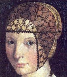 (Detail) Portrait of Anna d'Alencon by Gian Giacomo de Alladio, also know as Macrino d'Alba, 1520