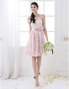 una línea de un hombro hasta la rodilla de encaje vestido de dama de honor (710809) - EUR € 65.33