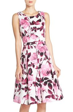 Eliza J Floral Print Faille Fit & Flare Dress  (Regular & Petite) available at #Nordstrom
