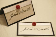 Place Card Wedding Red Rose ON SALE on Etsy, $1.00
